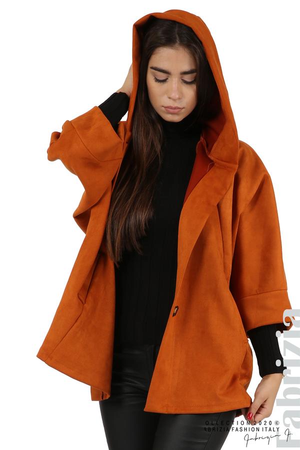 Свободно палто с качулка и 3/4 ръкави оранж 2 fabrizia