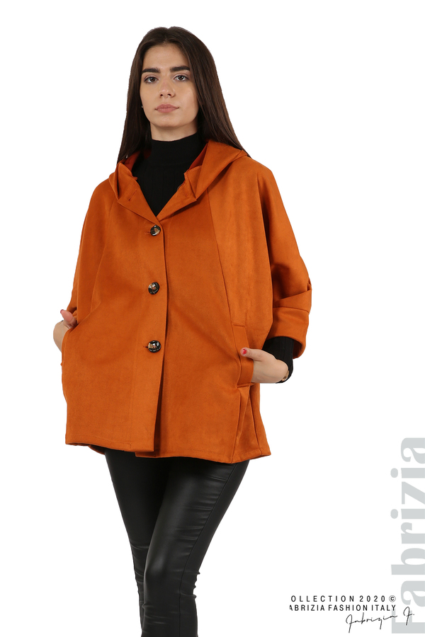 Свободно палто с качулка и 3/4 ръкави оранж 4 fabrizia
