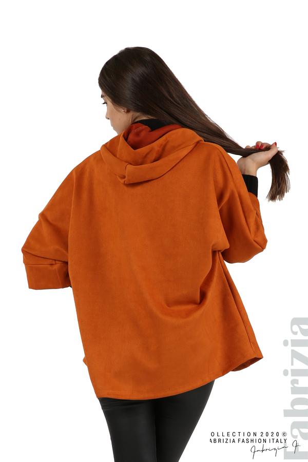 Свободно палто с качулка и 3/4 ръкави оранж 5 fabrizia
