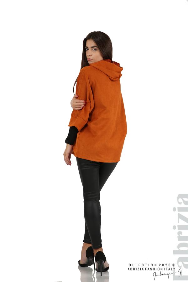 Свободно палто с качулка и 3/4 ръкави оранж 6 fabrizia