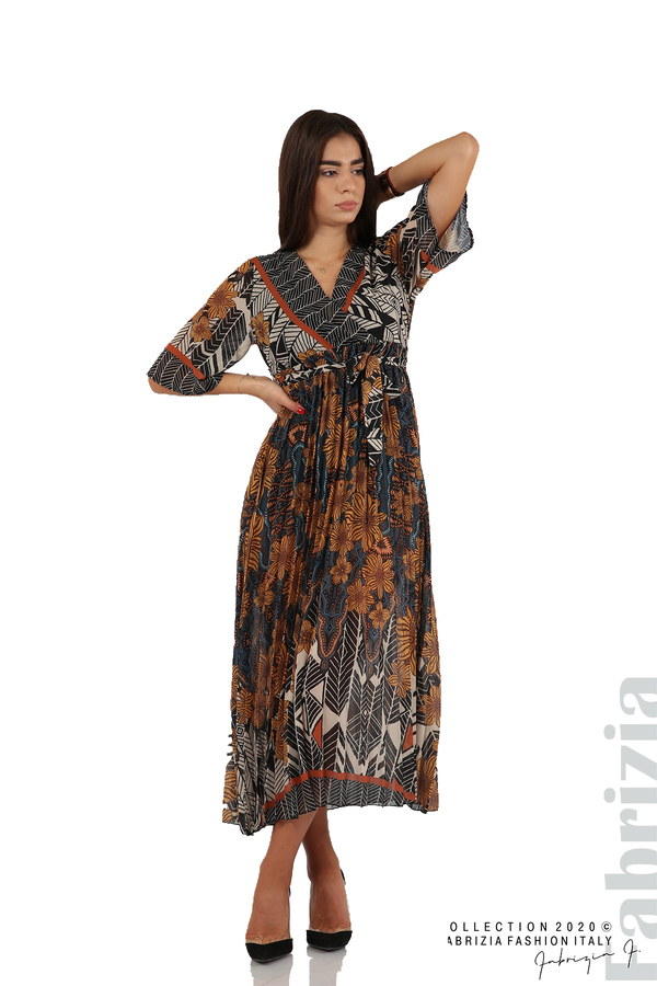 Дълга рокля с къс ръкав жълт/син 1 fabrizia
