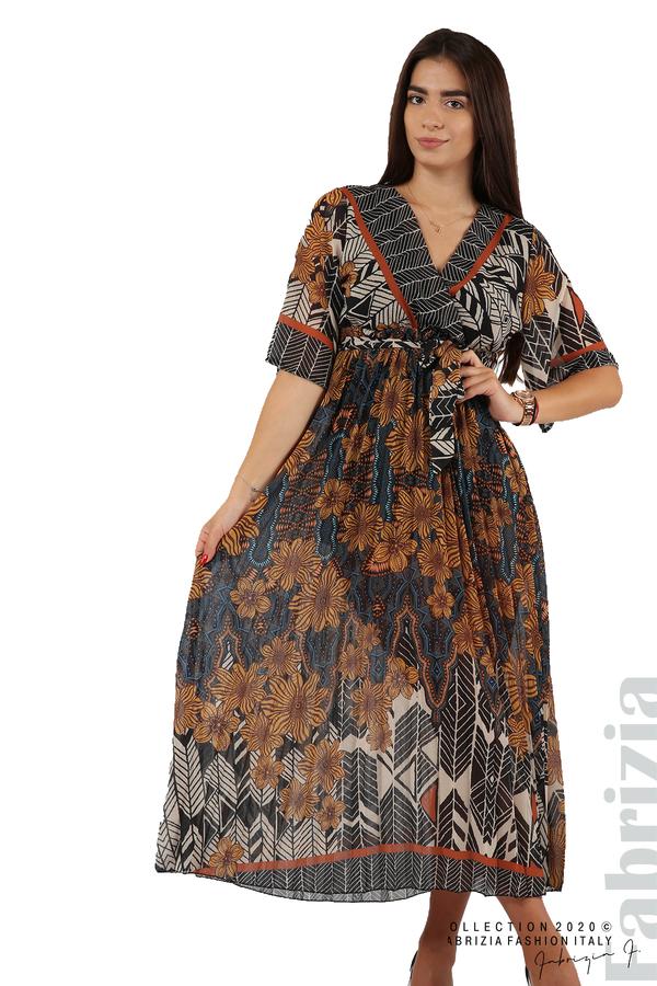 Дълга рокля с къс ръкав жълт/син 3 fabrizia