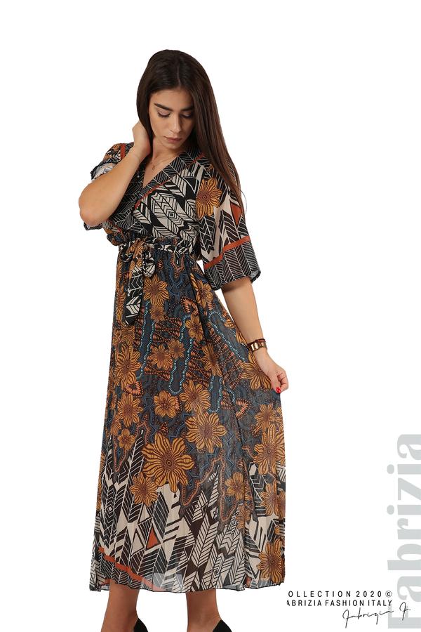 Дълга рокля с къс ръкав жълт/син 4 fabrizia