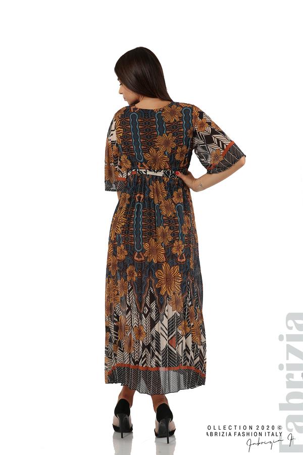 Дълга рокля с къс ръкав жълт/син 7 fabrizia