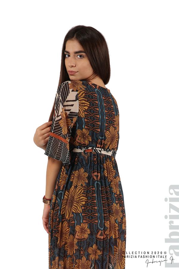 Дълга рокля с къс ръкав жълт/син 5 fabrizia