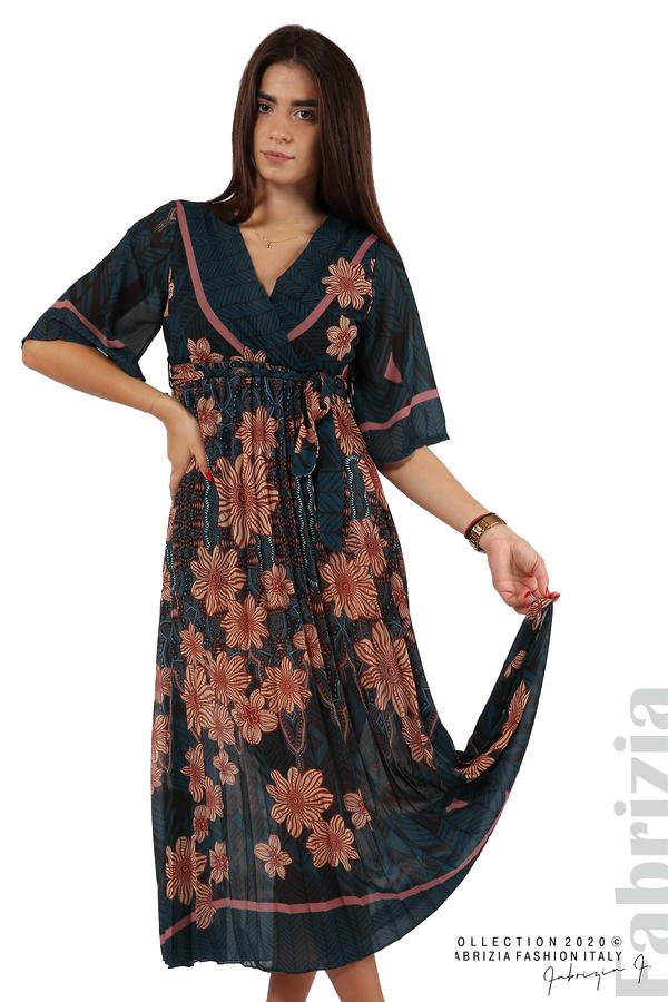 Дълга рокля с къс ръкав отанио/бежов 3 fabrizia
