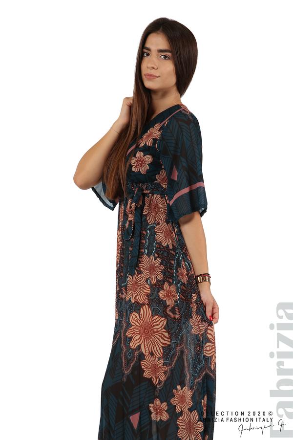 Дълга рокля с къс ръкав отанио/бежов 5 fabrizia