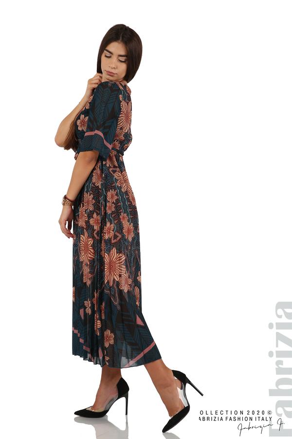Дълга рокля с къс ръкав отанио/бежов 4 fabrizia
