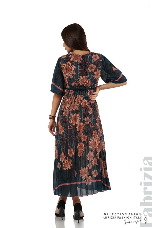 Дълга рокля с къс ръкав отанио/бежов 7 fabrizia
