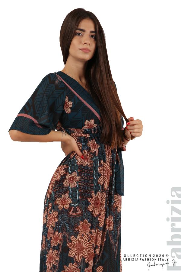 Дълга рокля с къс ръкав отанио/бежов 2 fabrizia
