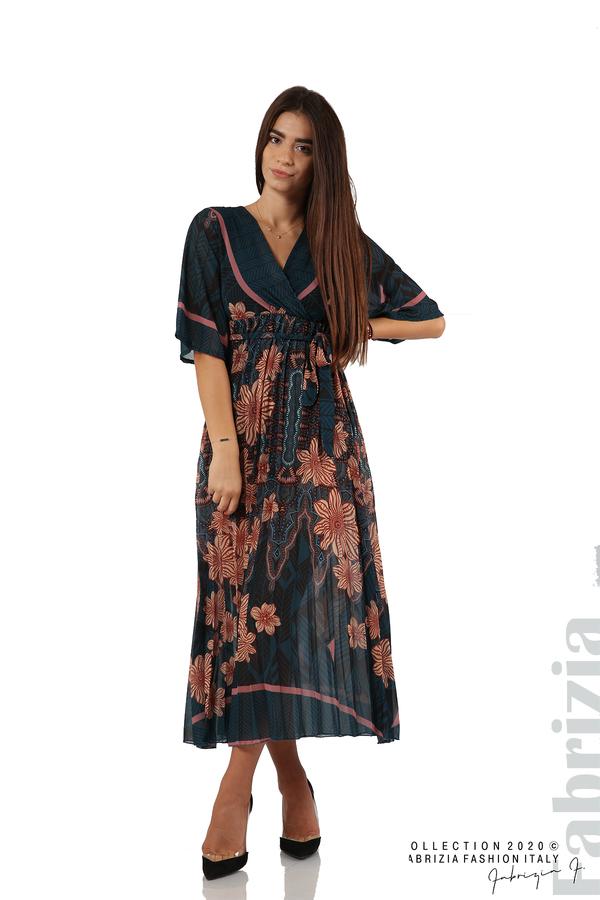 Дълга рокля с къс ръкав отанио/бежов 1 fabrizia