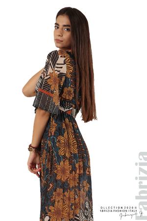 Дълга рокля с къс ръкав
