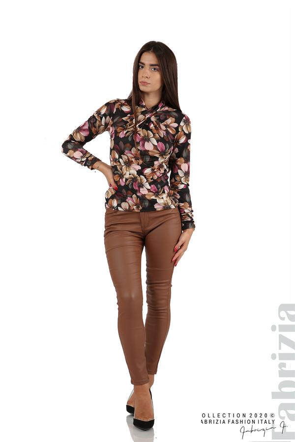 Блуза на цветя с набрани ръкави черен 4 fabrizia