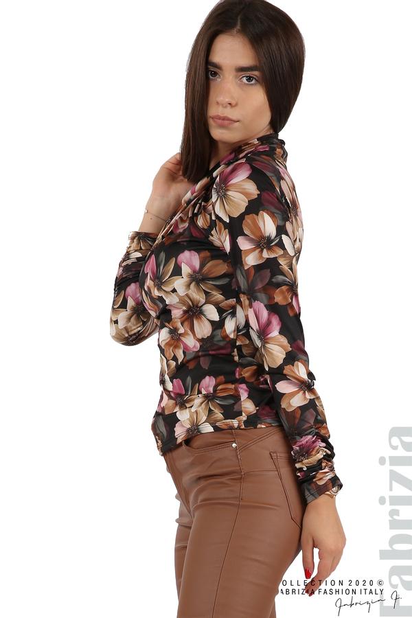 Блуза на цветя с набрани ръкави черен 5 fabrizia