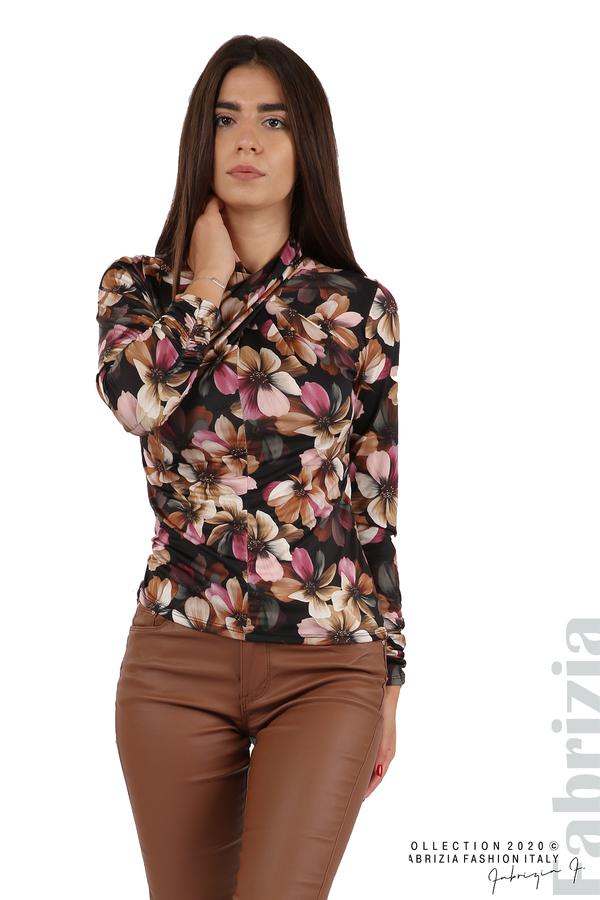 Блуза на цветя с набрани ръкави черен 3 fabrizia