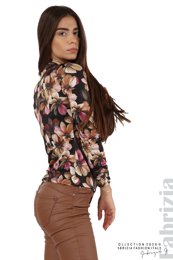 Блуза на цветя с набрани ръкави черен 2 fabrizia