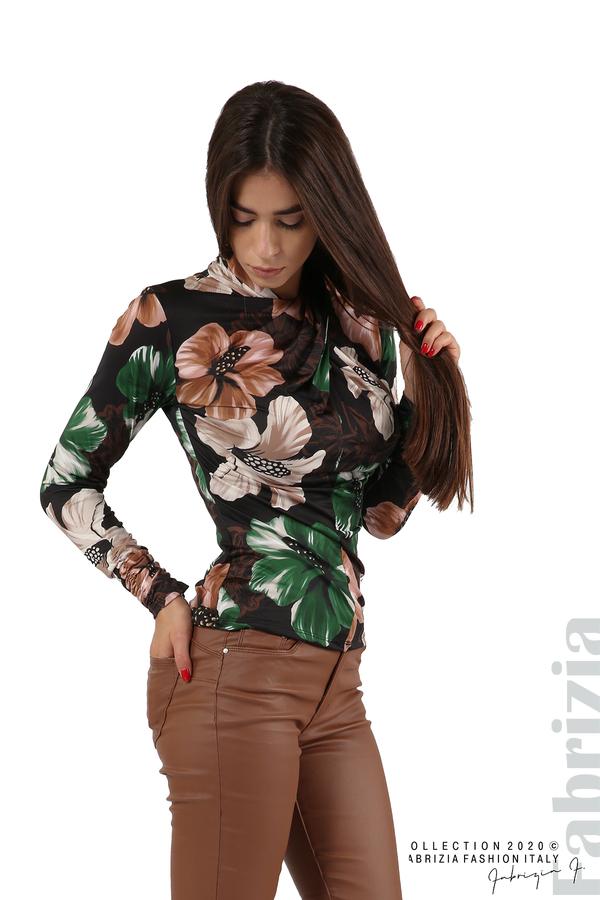 Блуза с прехвърляне в предната част черен 1 fabrizia