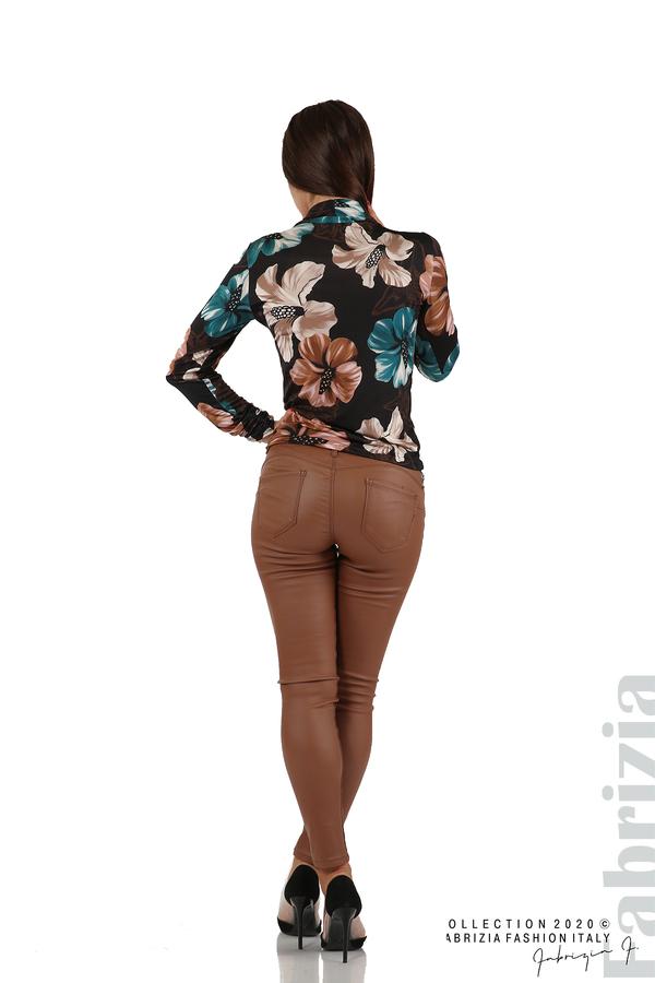 Блуза на цветя с набрани ръкави черен 6 fabrizia