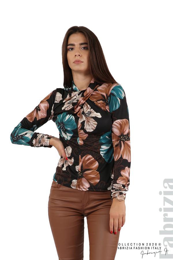 Блуза на цветя с набрани ръкави черен 1 fabrizia