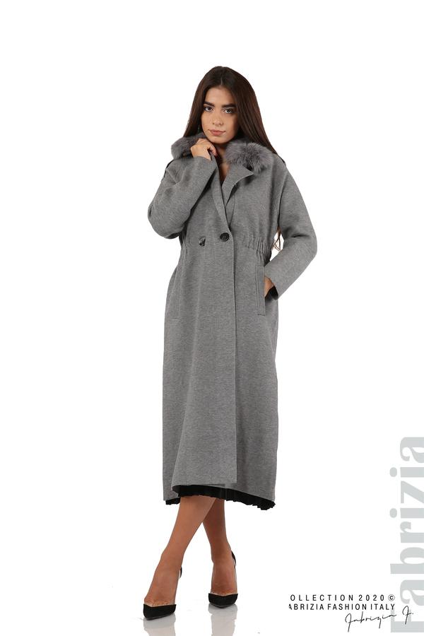 Дълго палто с кожена яка сив 4 fabrizia