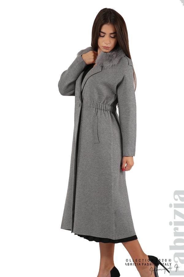 Дълго палто с кожена яка сив 3 fabrizia