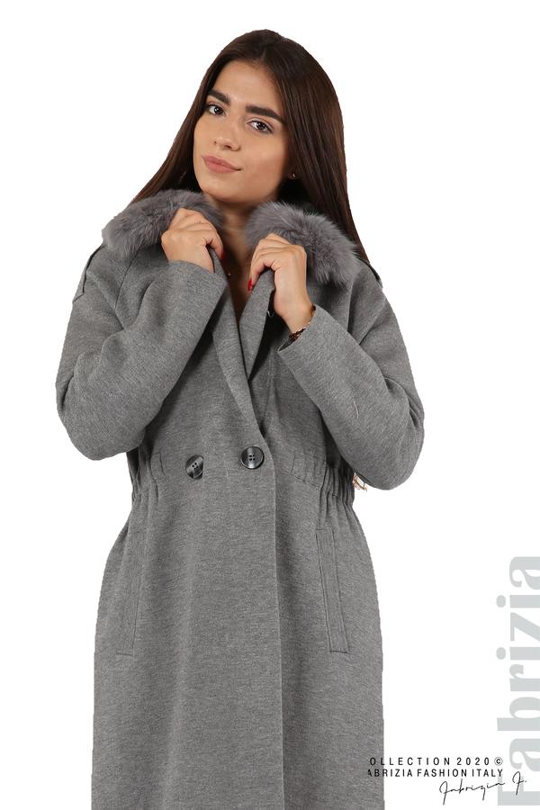 Дълго палто с кожена яка сив 6 fabrizia