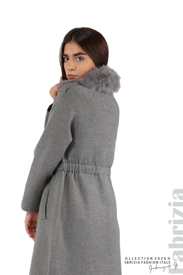 Дълго палто с кожена яка сив 9 fabrizia