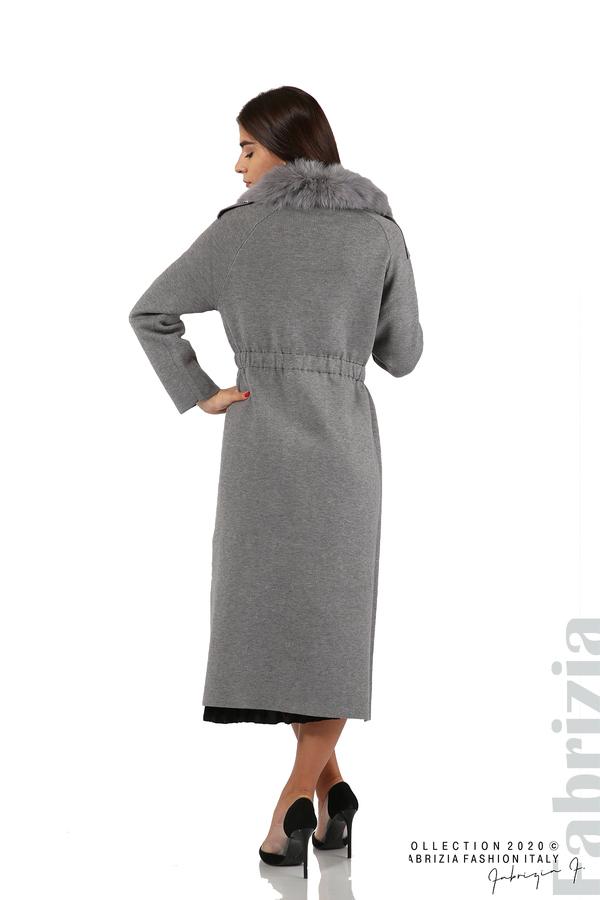 Дълго палто с кожена яка сив 7 fabrizia