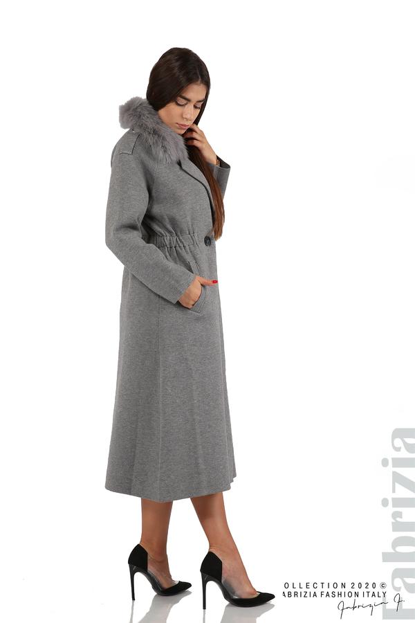 Дълго палто с кожена яка сив 1 fabrizia