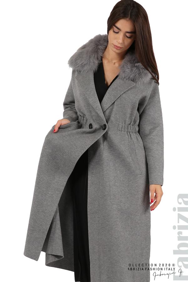 Дълго палто с кожена яка сив 5 fabrizia