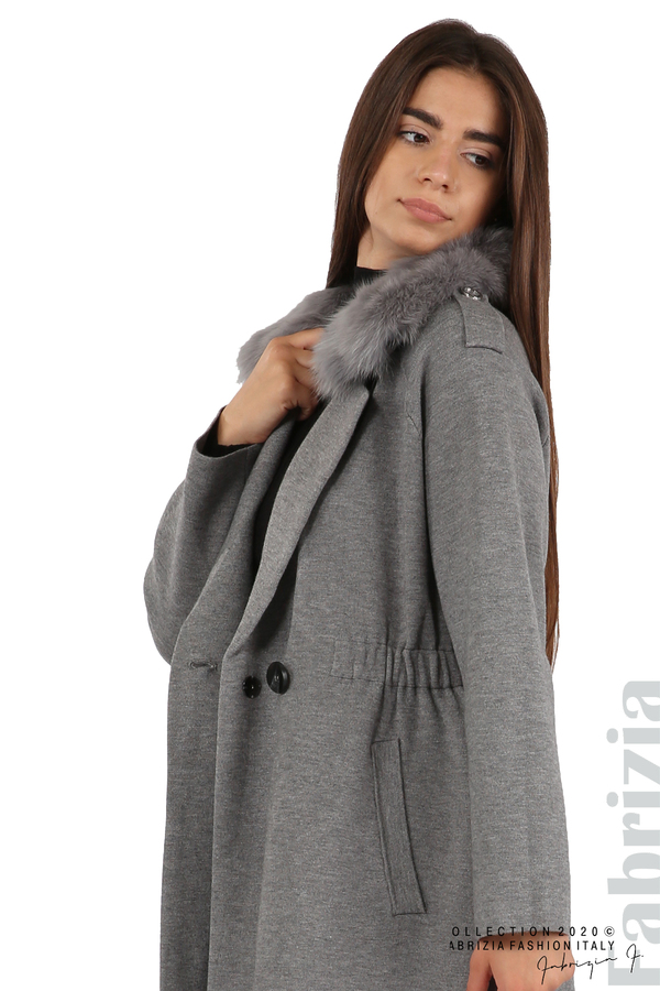 Дълго палто с кожена яка сив 8 fabrizia