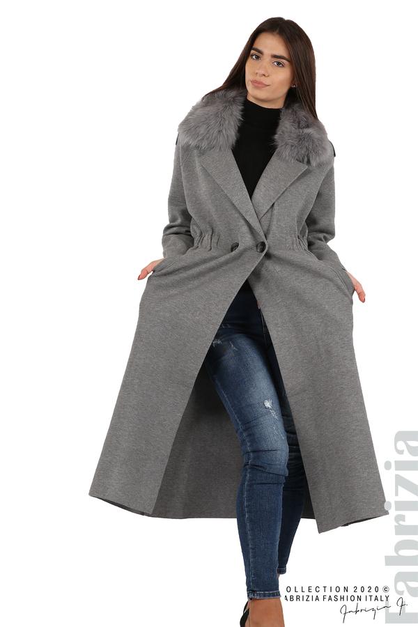 Дълго палто с кожена яка сив 2 fabrizia