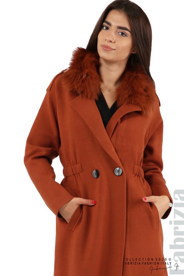 Дълго палто с кожена яка керемида 5 fabrizia