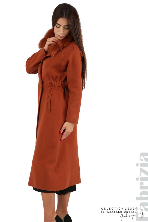 Дълго палто с кожена яка керемида 4 fabrizia