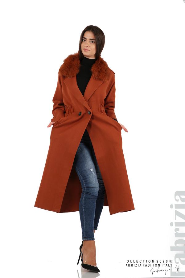 Дълго палто с кожена яка керемида 6 fabrizia