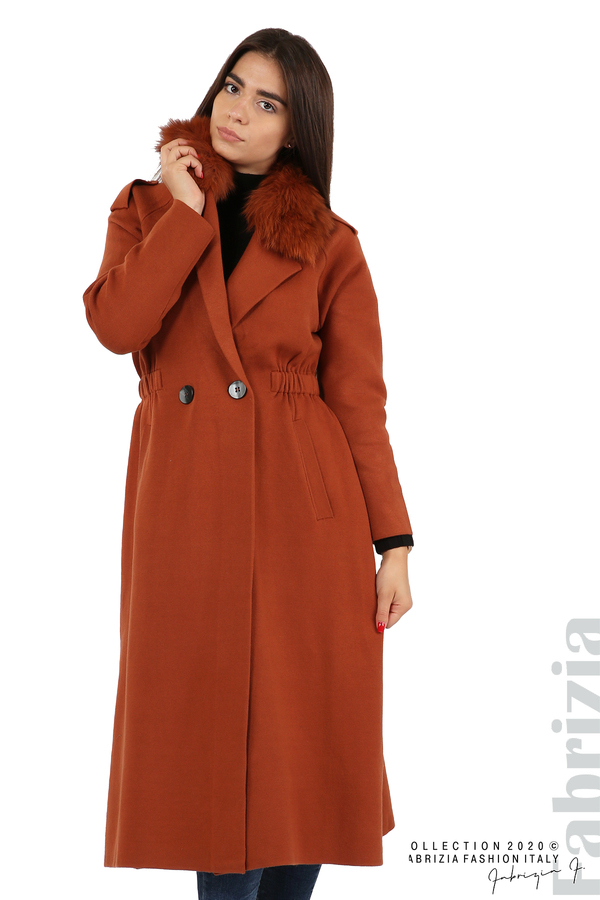 Дълго палто с кожена яка керемида 2 fabrizia