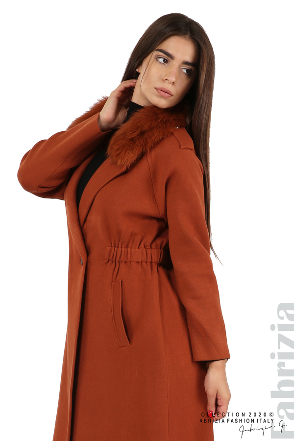 Дълго палто с кожена яка керемида 8 fabrizia