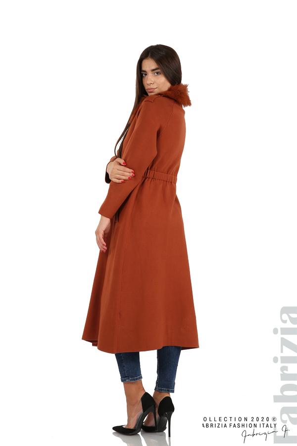 Дълго палто с кожена яка керемида 1 fabrizia