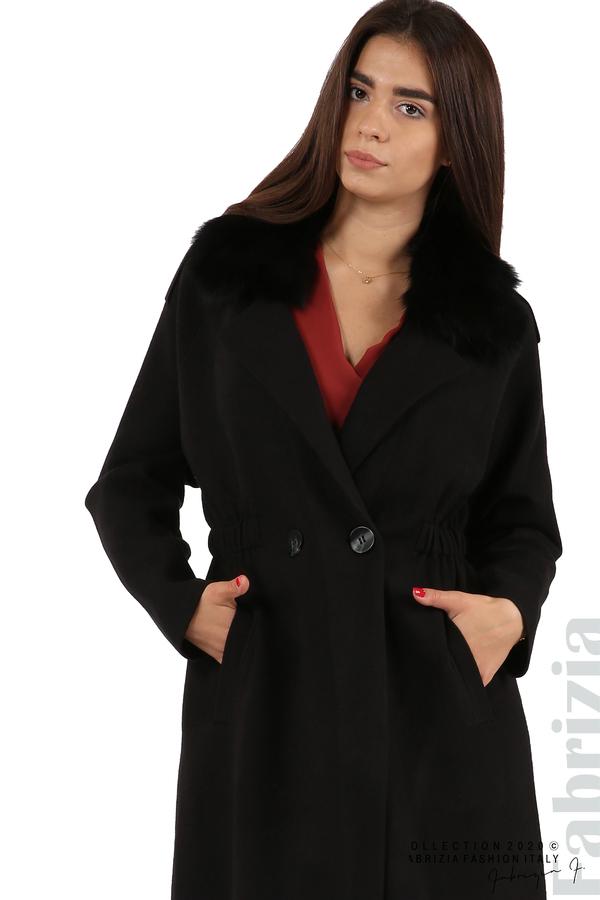 Дълго палто с кожена яка черен 3 fabrizia