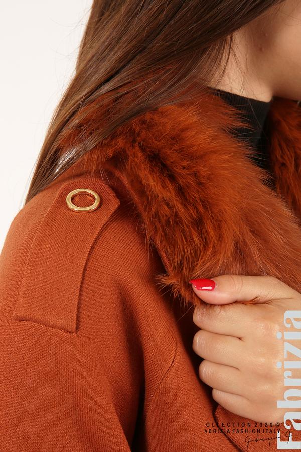 Дълго палто с кожена яка керемида 3 fabrizia