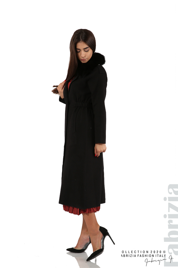Дълго палто с кожена яка черен 1 fabrizia