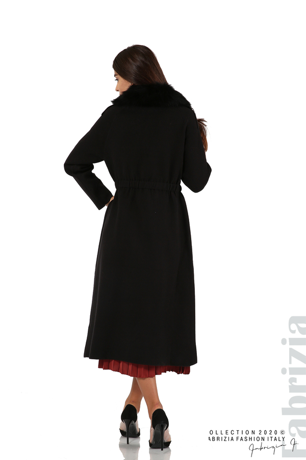 Дълго палто с кожена яка черен 6 fabrizia