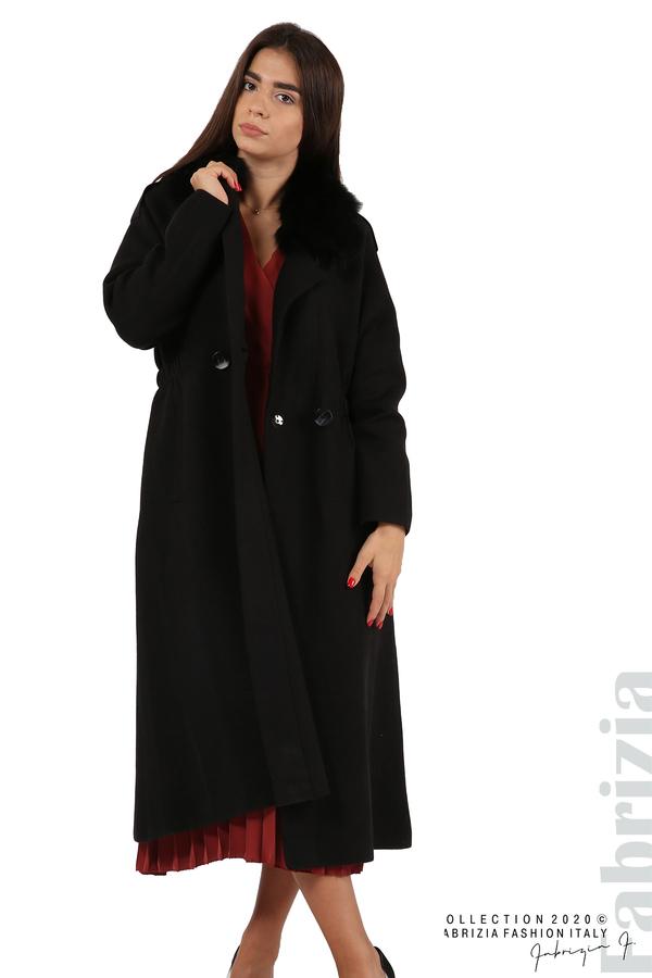 Дълго палто с кожена яка черен 7 fabrizia