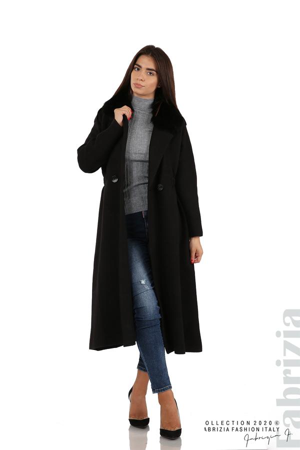 Дълго палто с кожена яка черен 5 fabrizia