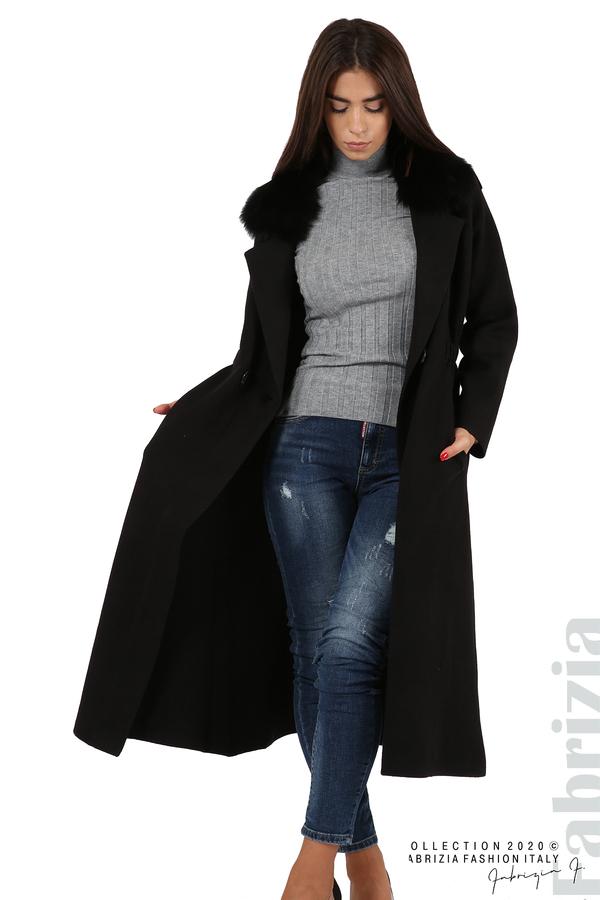 Дълго палто с кожена яка черен 2 fabrizia
