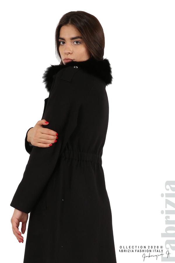Дълго палто с кожена яка черен 8 fabrizia