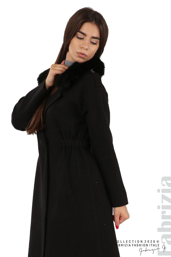 Дълго палто с кожена яка черен 4 fabrizia