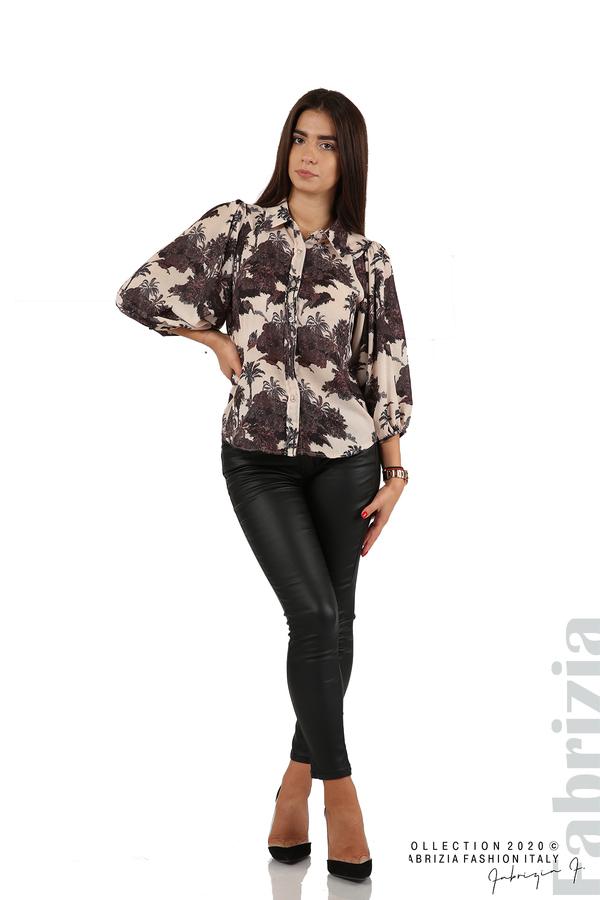 Дамска риза на цветя бежов 4 fabrizia