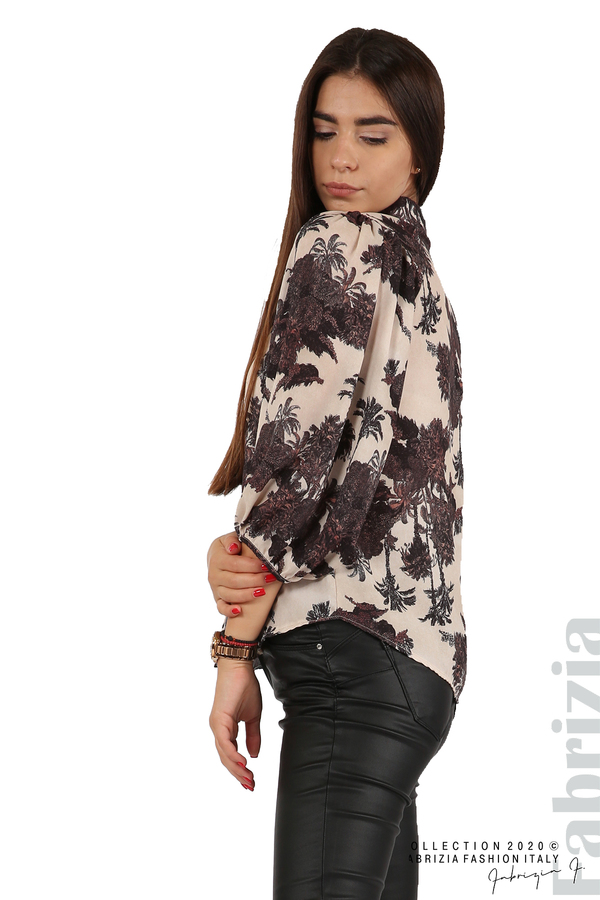 Дамска риза на цветя бежов 3 fabrizia
