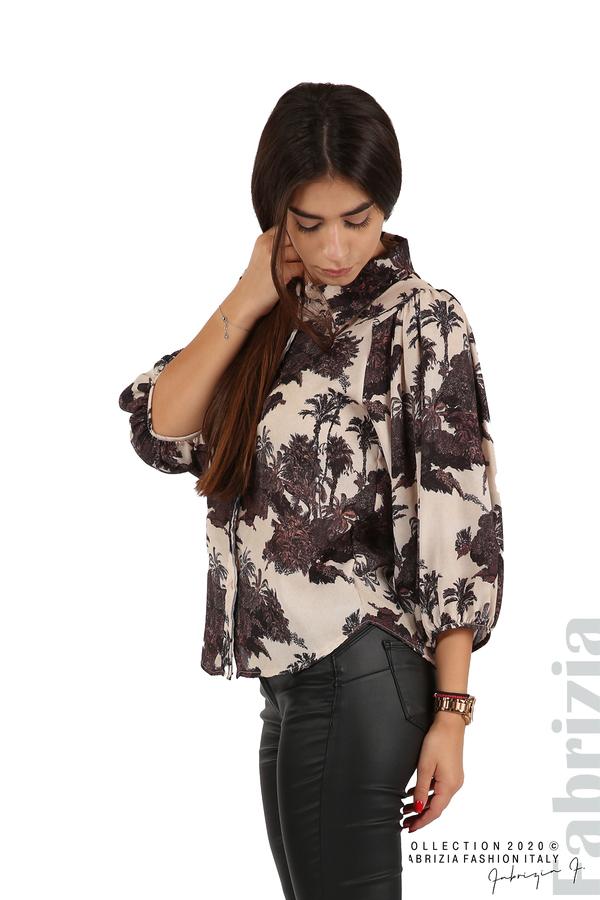 Дамска риза на цветя бежов 1 fabrizia